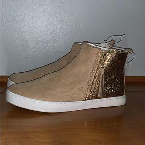 Kids zip up glitter sneakers